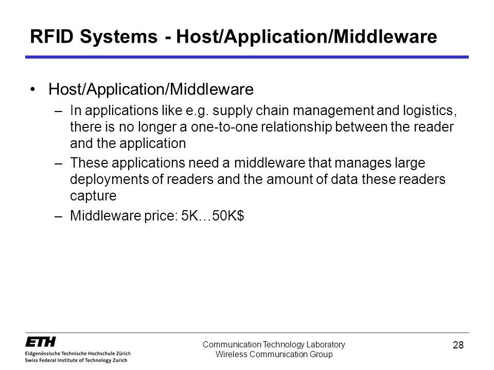 28 Communication Technology Laboratory Wireless Communication Group RFID Systems - Host/Application/Middleware Host/Application/Middleware –In applications like e.g.