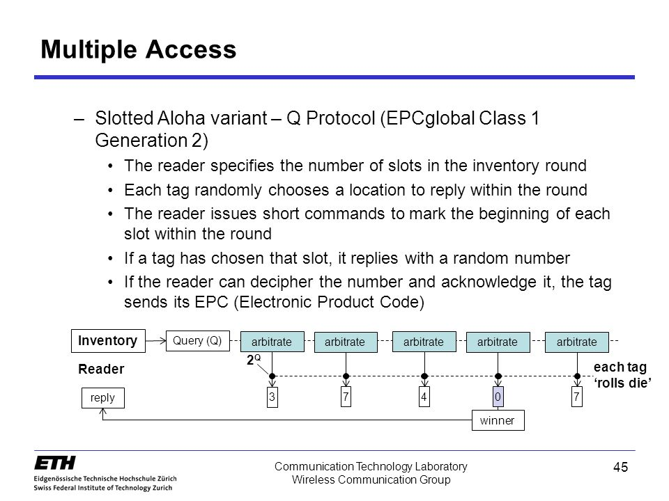 45 Communication Technology Laboratory Wireless Communication Group –Slotted Aloha variant – Q Protocol (EPCglobal Class 1 Generation 2) The reader specifies the number of slots in the inventory round Each tag randomly chooses a location to reply within the round The reader issues short commands to mark the beginning of each slot within the round If a tag has chosen that slot, it replies with a random number If the reader can decipher the number and acknowledge it, the tag sends its EPC (Electronic Product Code) Multiple Access Inventory Query (Q) arbitrate 3 7407 winner reply each tag 'rolls die' 2Q2Q Reader