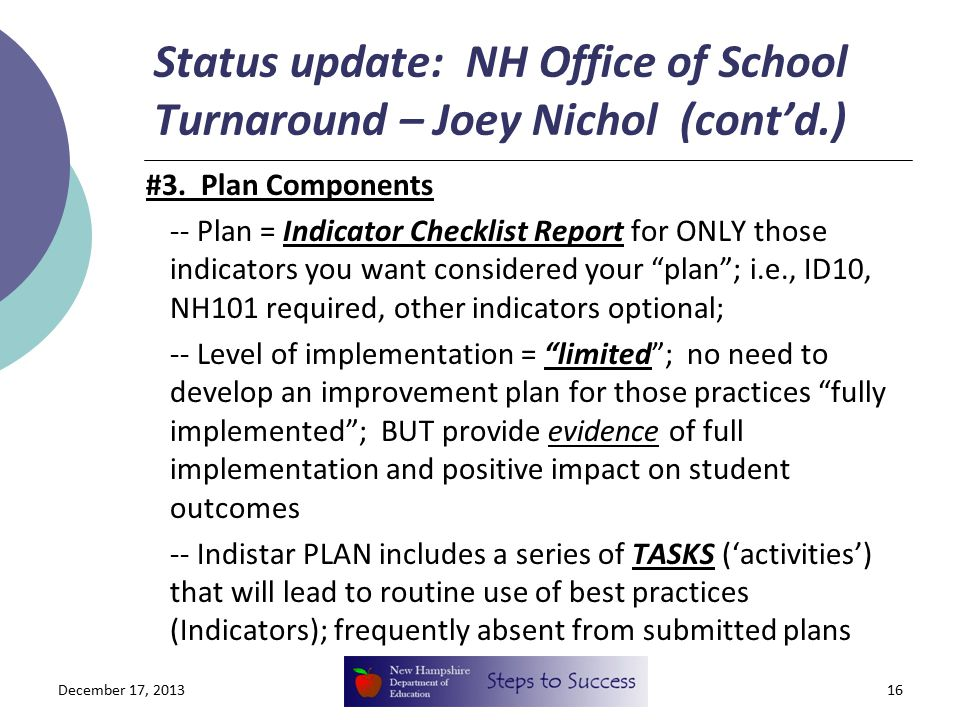 Status update: NH Office of School Turnaround – Joey Nichol (cont'd.) #3.
