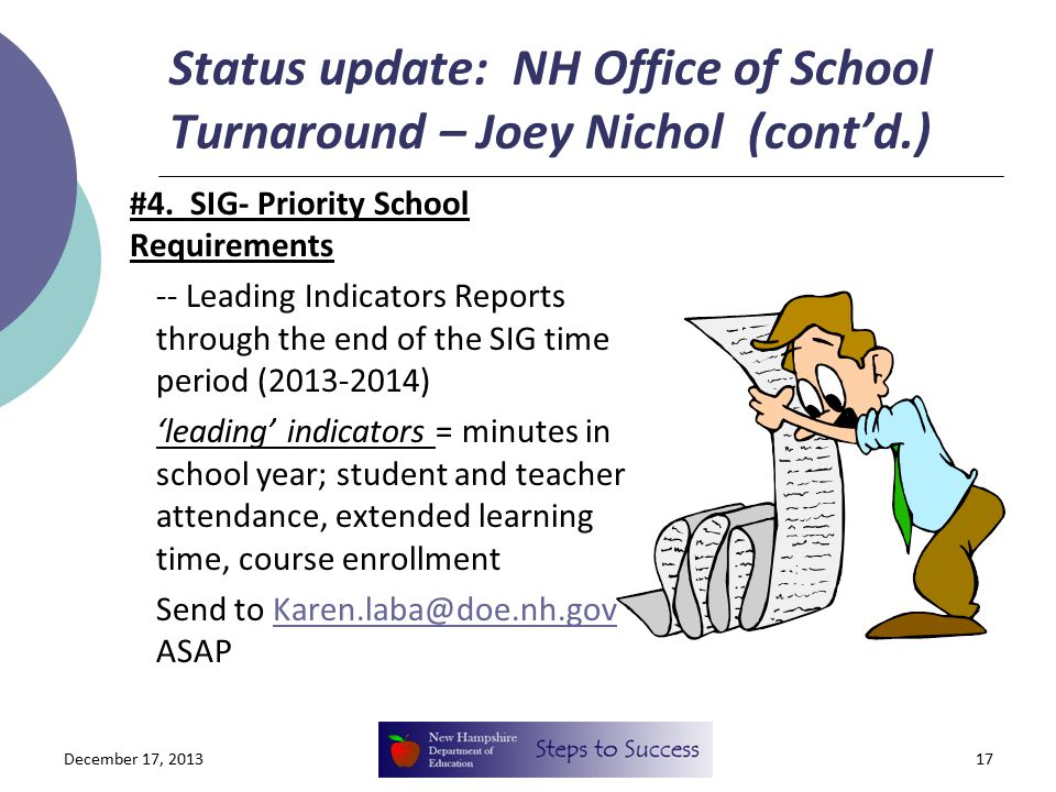 Status update: NH Office of School Turnaround – Joey Nichol (cont'd.) #4.