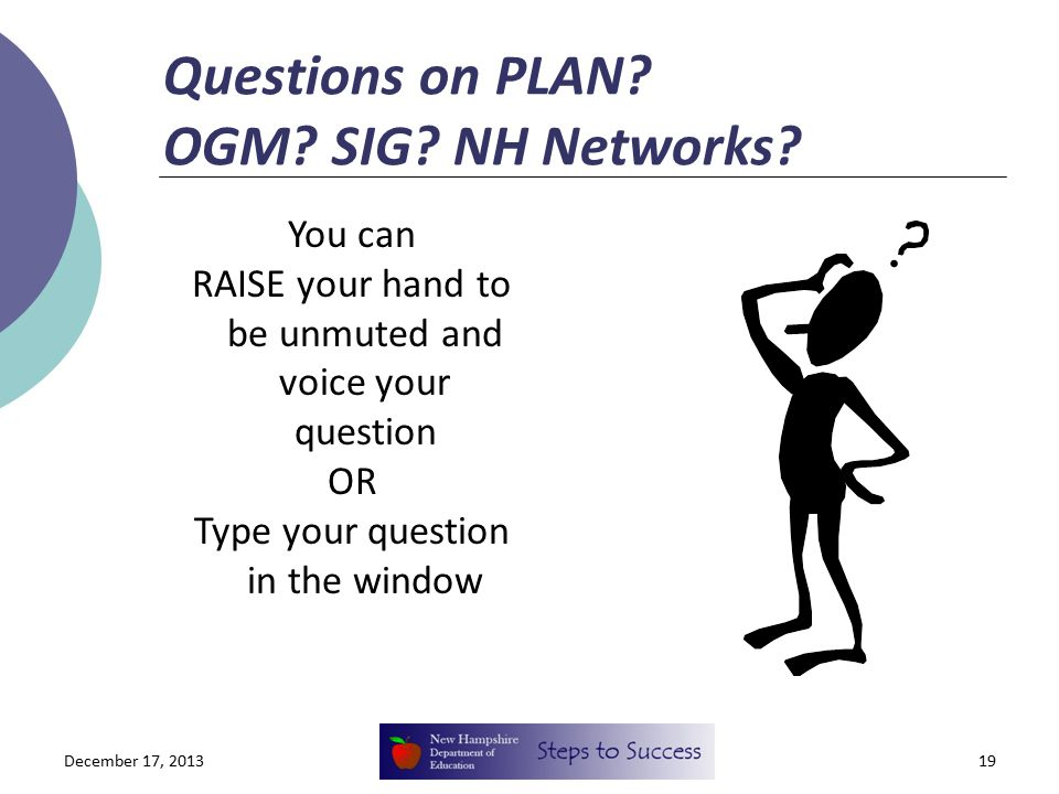 Questions on PLAN. OGM. SIG. NH Networks.