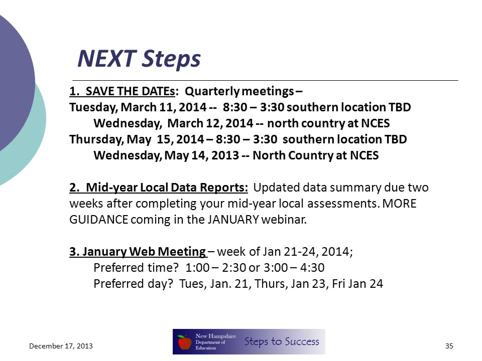 NEXT Steps December 17, 201335 1. SAVE THE DATEs: Quarterly meetings – Tuesday, March 11, 2014 -- 8:30 – 3:30 southern location TBD Wednesday, March 1