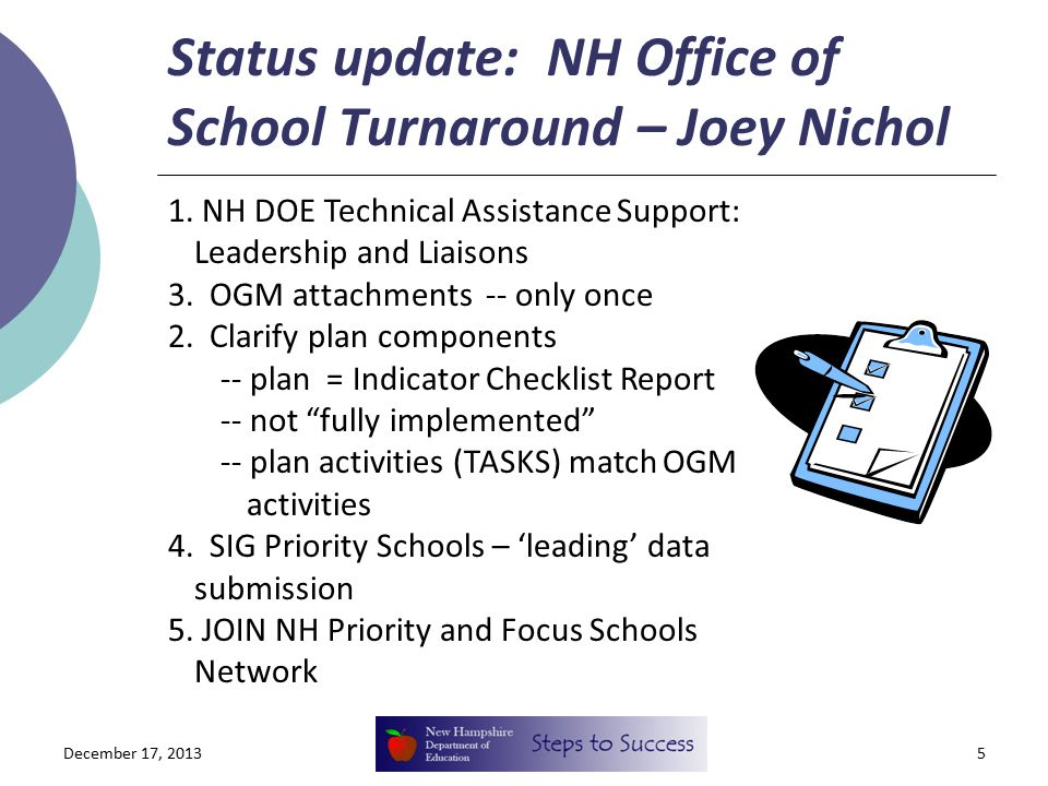 Status update: NH Office of School Turnaround – Joey Nichol 5 1. NH DOE Technical Assistance Support: Leadership and Liaisons 3. OGM attachments -- on