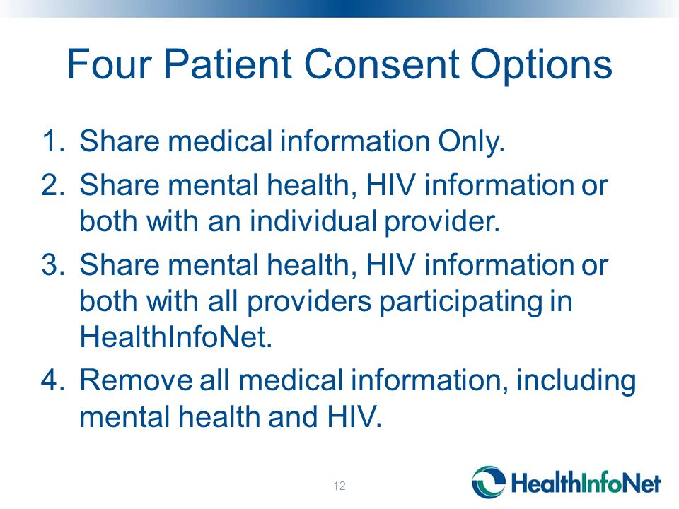 Four Patient Consent Options 1.Share medical information Only.