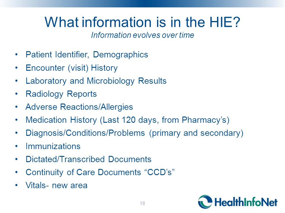 What information is in the HIE.