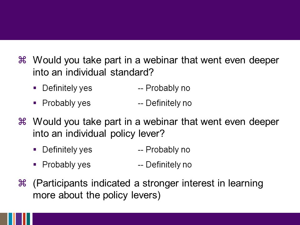  Would you take part in a webinar that went even deeper into an individual standard.