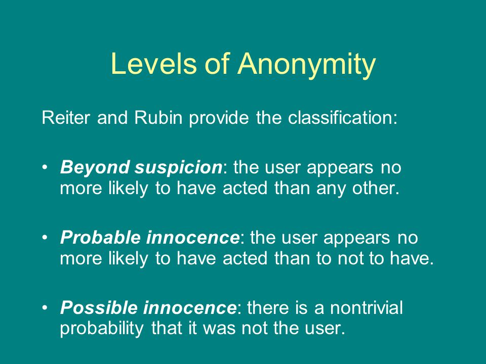 Levels of Anonymity Reiter and Rubin provide the classification: Beyond suspicion: the user appears no more likely to have acted than any other.