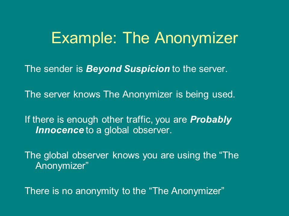 Example: The Anonymizer The sender is Beyond Suspicion to the server.
