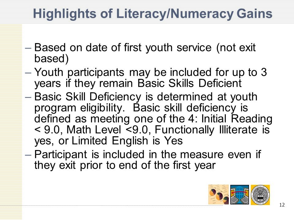 12 Highlights of Literacy/Numeracy Gains –Based on date of first youth service (not exit based) –Youth participants may be included for up to 3 years if they remain Basic Skills Deficient –Basic Skill Deficiency is determined at youth program eligibility.