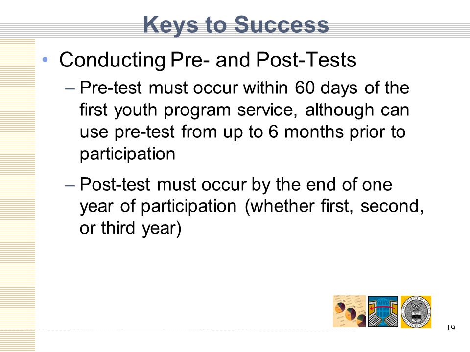 19 Keys to Success Conducting Pre- and Post-Tests –Pre-test must occur within 60 days of the first youth program service, although can use pre-test from up to 6 months prior to participation –Post-test must occur by the end of one year of participation (whether first, second, or third year)