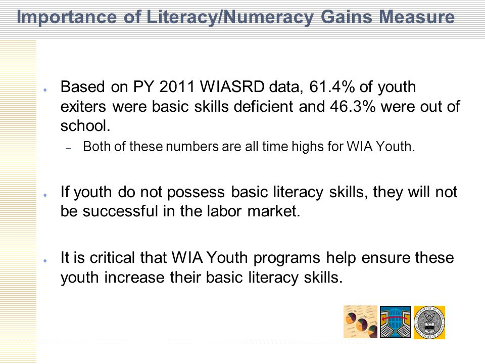 ● Based on PY 2011 WIASRD data, 61.4% of youth exiters were basic skills deficient and 46.3% were out of school.