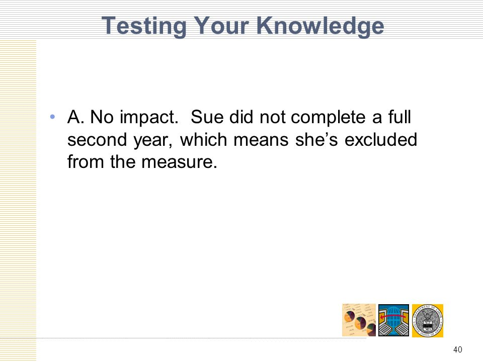 40 Testing Your Knowledge A. No impact.