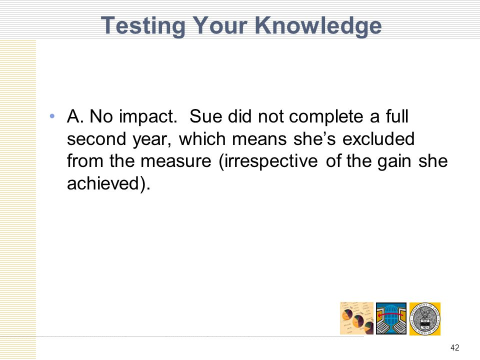 42 Testing Your Knowledge A. No impact.