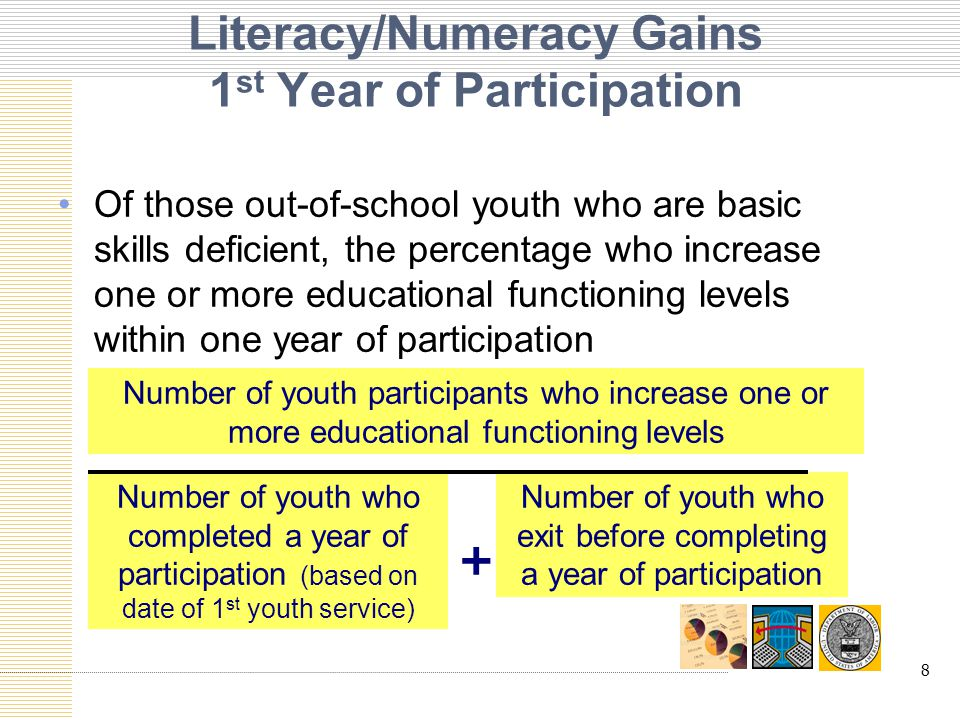 9 Literacy/Numeracy Gains 2 nd and 3 rd Years of Participation Of those out-of-school youth who are basic skills deficient, the percentage who increase one or more educational functioning levels within one year of participation Number of youth participants who increase one or more educational functioning levels Number of youth who completed a year of participation (based on anniversary date of 1 st youth service)