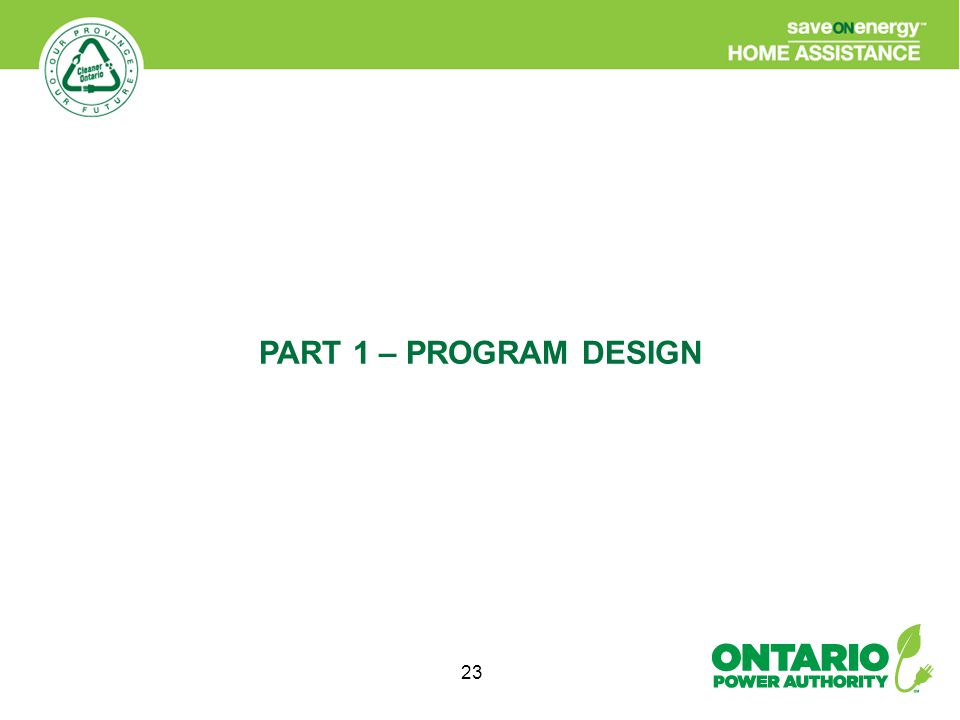 23 PART 1 – PROGRAM DESIGN