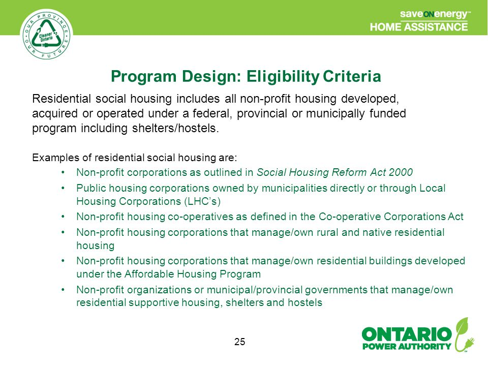 25 Residential social housing includes all non-profit housing developed, acquired or operated under a federal, provincial or municipally funded program including shelters/hostels.