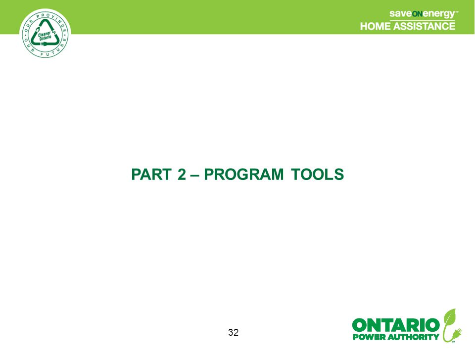 32 PART 2 – PROGRAM TOOLS