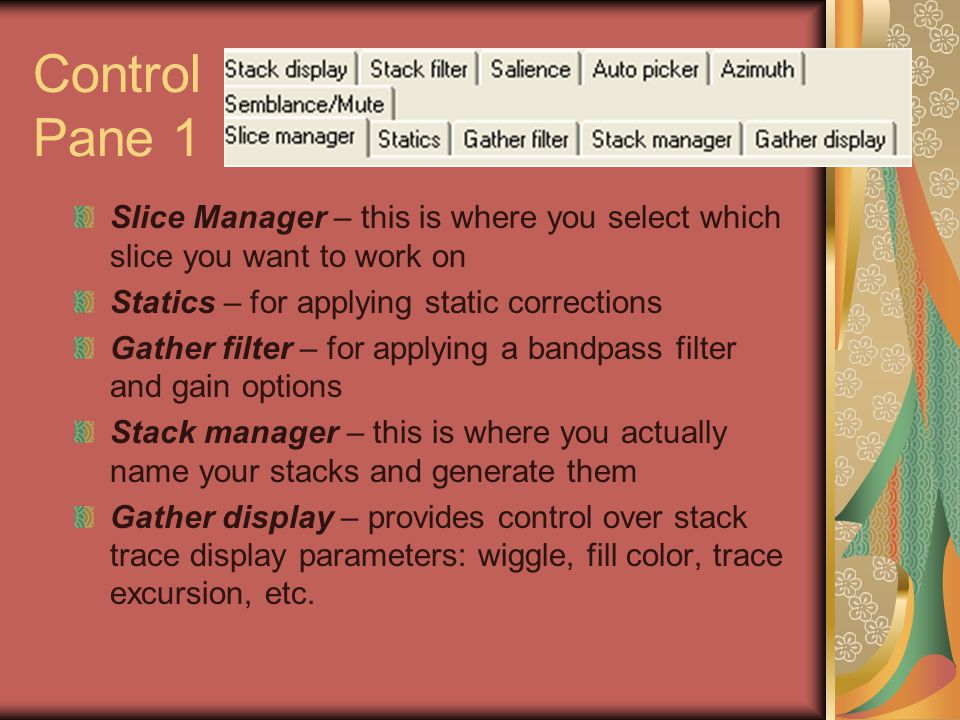 Control Pane 1 Slice Manager – this is where you select which slice you want to work on Statics – for applying static corrections Gather filter – for applying a bandpass filter and gain options Stack manager – this is where you actually name your stacks and generate them Gather display – provides control over stack trace display parameters: wiggle, fill color, trace excursion, etc.