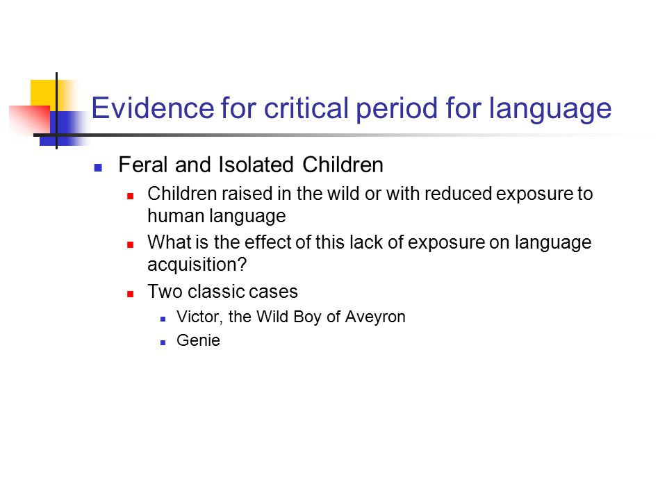 Evidence for critical period for language Feral and Isolated Children Children raised in the wild or with reduced exposure to human language What is t