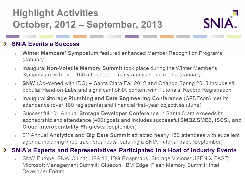 Highlight Activities October, 2012 – September, 2013 SNIA Events a Success Winter Members' Symposium featured enhanced Member Recognition Programs (January) Inaugural Non-Volatile Memory Summit took place during the Winter Member's Symposium with over 150 attendees – many analysts and media (January) SNW (Co-owned with IDG) – Santa Clara Fall 2012 and Orlando Spring 2013 include still popular Hand-on-Labs and significant SNIA content with Tutorials; Record Registration Inaugural Storage Plumbing and Data Engineering Conference (SPDEcon) met its attendance (over 180 registrants) and financial first–year objectives (June) Successful 10 th Annual Storage Developer Conference in Santa Clara exceeds its sponsorship and attendance (400) goals and includes successful SMB2/SMB3, iSCSI, and Cloud Interoperability Plugfests (September) 2 nd Annual Analytics and Big Data Summit attracted nearly 150 attendees with excellent agenda including three-track breakouts featuring a SNIA Tutorial track (September) SNIA's Experts and Representatives Participated in a Host of Industry Events SNW Europe; SNW China; LISA'13, IDG Roapmaps; Storage Visions; USENIX FAST; Microsoft Management Summit; Gluecon; IBM Edge; Flash Memory Summit; Intel Developer Forum