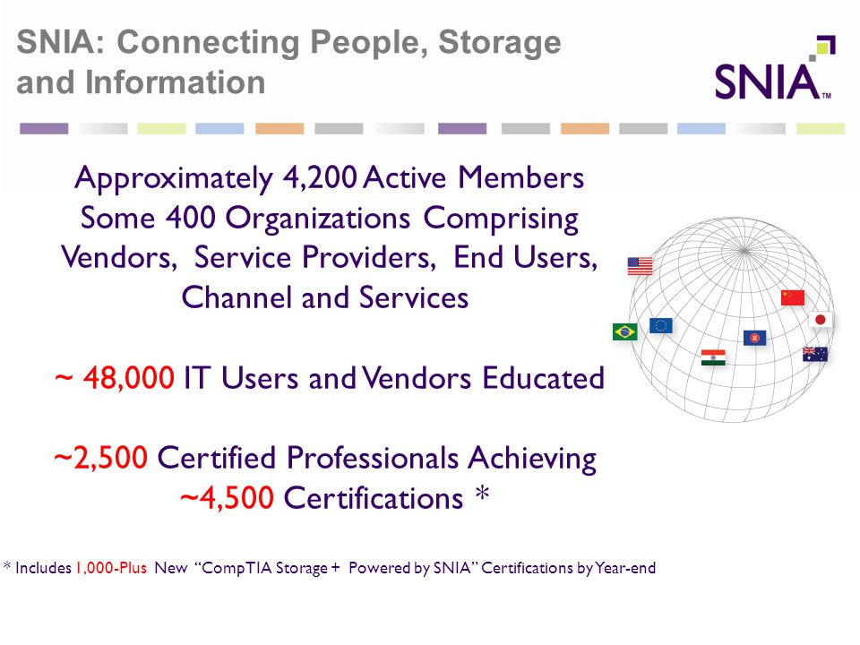 SNIA Tech Center, US Colorado Springs, CO, USA SNIA Technology Center Tsinghua University, Beijing, PRC SNIA Technology Center Tokyo University, Japan SNIA: Connecting People, Storage and Information Approximately 4,200 Active Members Some 400 Organizations Comprising Vendors, Service Providers, End Users, Channel and Services ~ 48,000 IT Users and Vendors Educated ~2,500 Certified Professionals Achieving ~4,500 Certifications * * Includes 1,000-Plus New CompTIA Storage + Powered by SNIA Certifications by Year-end