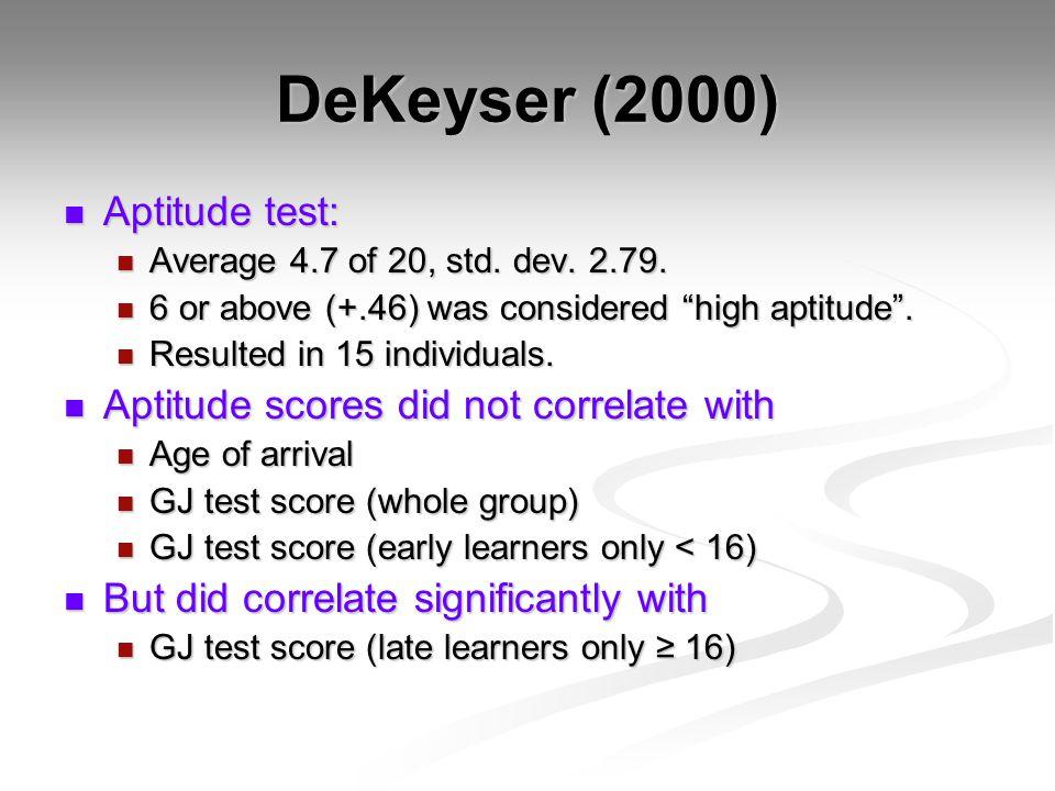 DeKeyser (2000) Aptitude test: Aptitude test: Average 4.7 of 20, std.