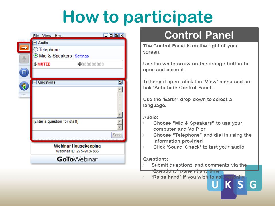 How to participate The Control Panel is on the right of your screen.