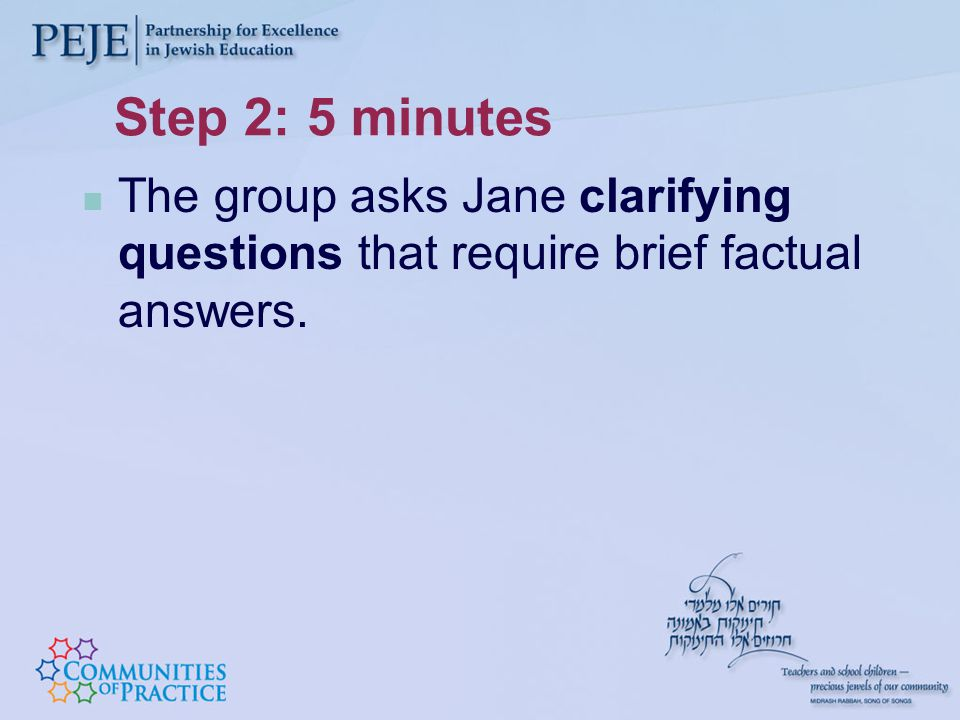 Step 2: 5 minutes The group asks Jane clarifying questions that require brief factual answers.