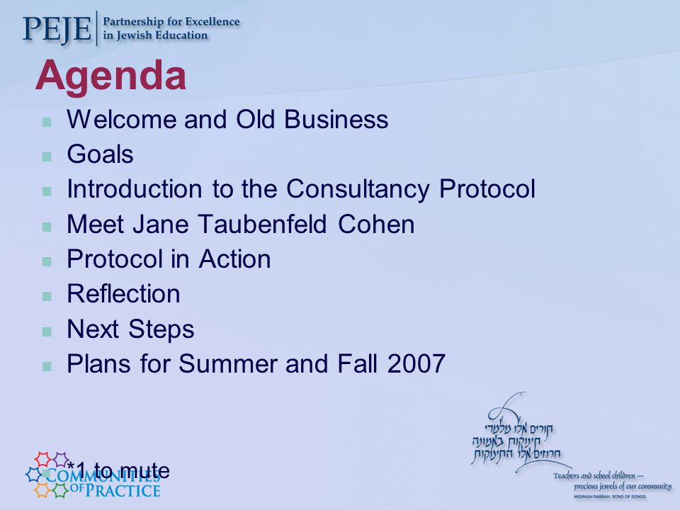 Agenda Welcome and Old Business Goals Introduction to the Consultancy Protocol Meet Jane Taubenfeld Cohen Protocol in Action Reflection Next Steps Plans for Summer and Fall 2007 *1 to mute