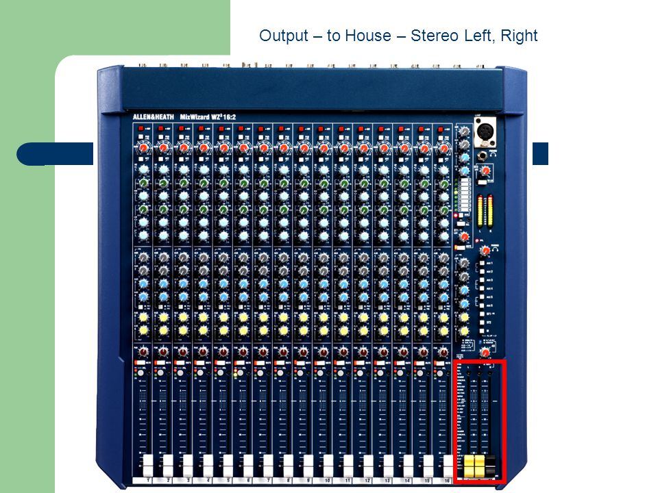 Output – to House – Stereo Left, Right