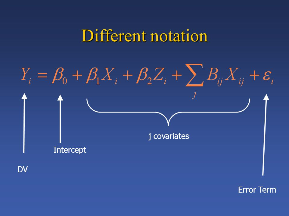 DV j covariates Error Term Intercept Different notation