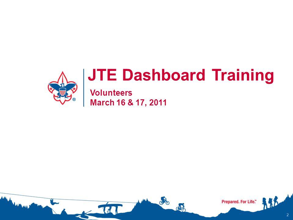 2 JTE Dashboard Training Volunteers March 16 & 17, 2011