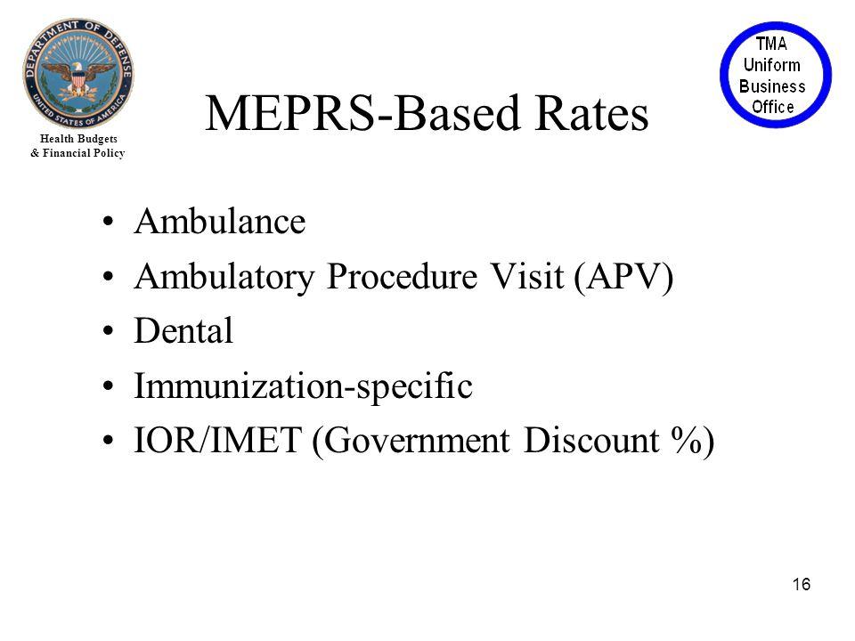 Health Budgets & Financial Policy Ambulance Ambulatory Procedure Visit (APV) Dental Immunization-specific IOR/IMET (Government Discount %) 16 MEPRS-Based Rates