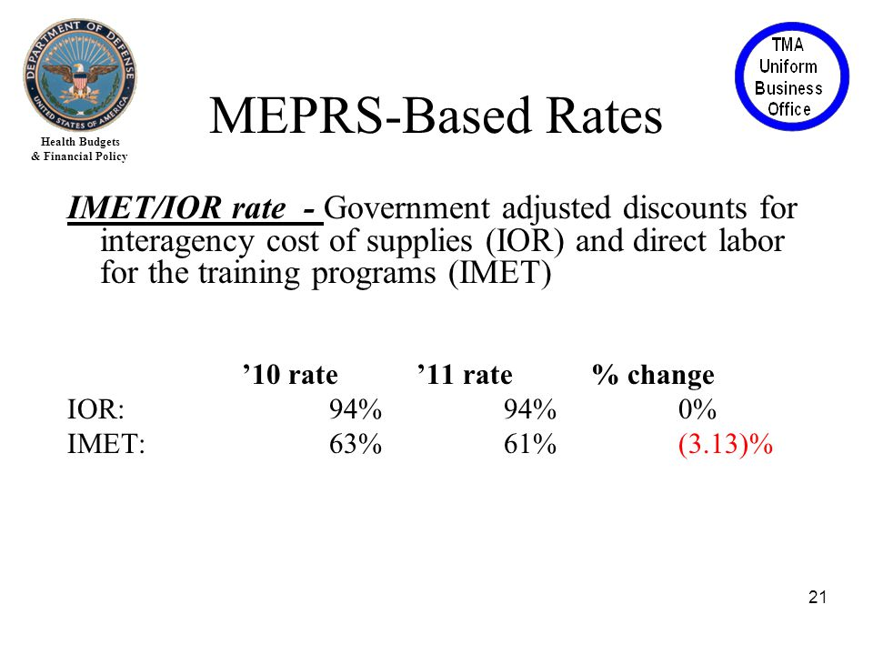 Health Budgets & Financial Policy IMET/IOR rate - Government adjusted discounts for interagency cost of supplies (IOR) and direct labor for the training programs (IMET) '10 rate'11 rate% change IOR: 94%94%0% IMET: 63%61%(3.13)% 21 MEPRS-Based Rates