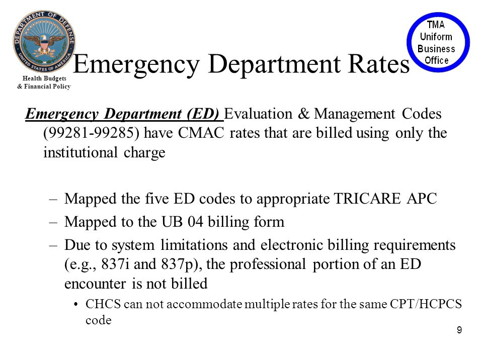 Health Budgets & Financial Policy Emergency Department (ED) Evaluation & Management Codes (99281-99285) have CMAC rates that are billed using only the institutional charge –Mapped the five ED codes to appropriate TRICARE APC –Mapped to the UB 04 billing form –Due to system limitations and electronic billing requirements (e.g., 837i and 837p), the professional portion of an ED encounter is not billed CHCS can not accommodate multiple rates for the same CPT/HCPCS code 9 Emergency Department Rates