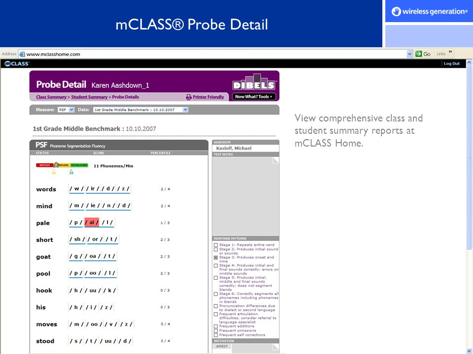 mCLASS® Probe Detail View comprehensive class and student summary reports at mCLASS Home.
