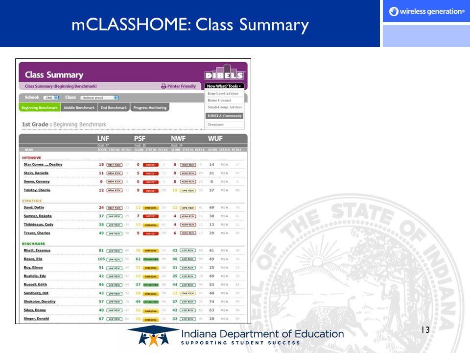 13 mCLASSHOME: Class Summary