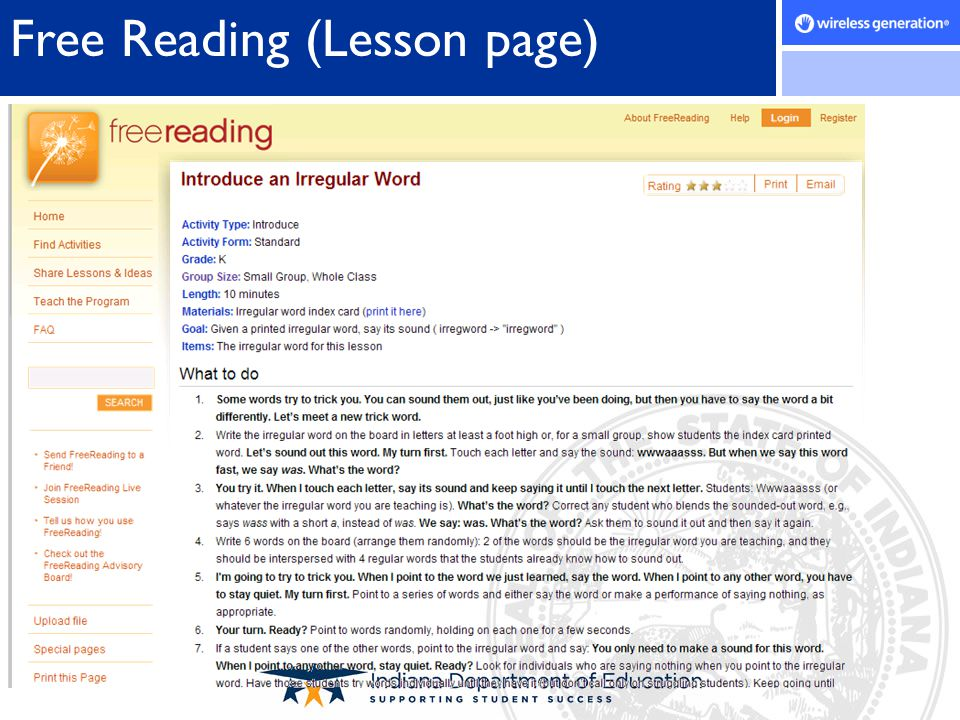 Free Reading (Lesson page)