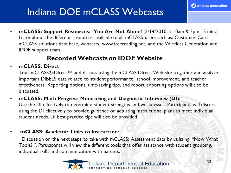 Indiana DOE mCLASS Webcasts mCLASS: Support Resources: You Are Not Alone! (5/14/2010 at 10am & 2pm 15 min.) Learn about the different resources availa
