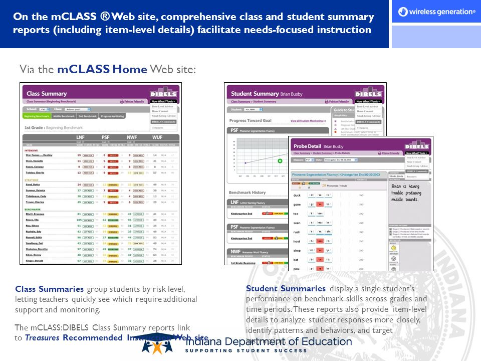Class Summaries group students by risk level, letting teachers quickly see which require additional support and monitoring. Student Summaries display