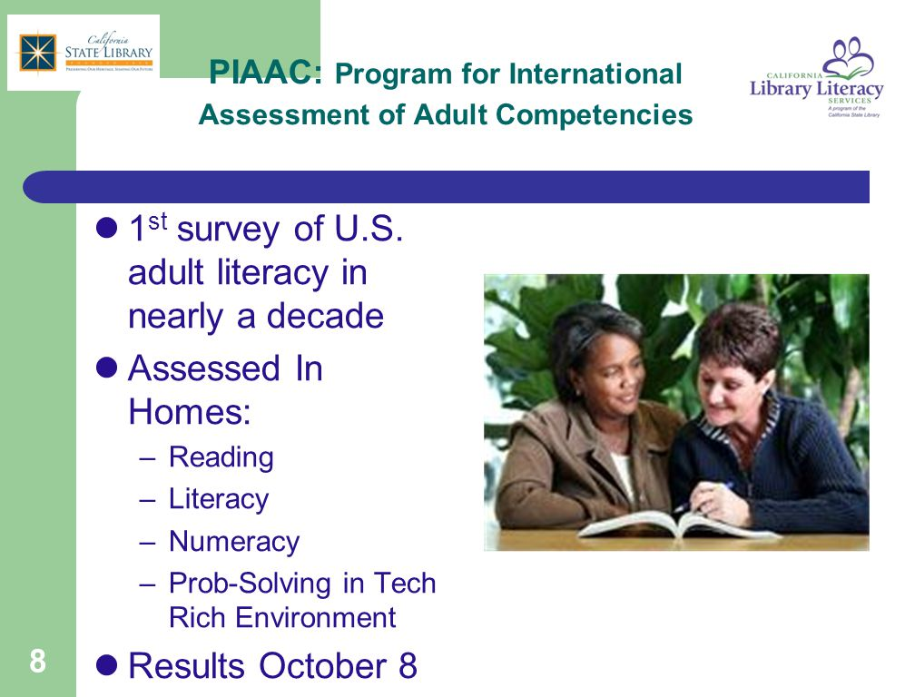 PIAAC: Program for International Assessment of Adult Competencies 1 st survey of U.S.