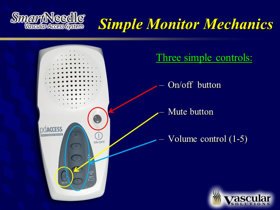 Simple Monitor Mechanics Three simple controls: –On/off button –Mute button –Volume control (1-5)