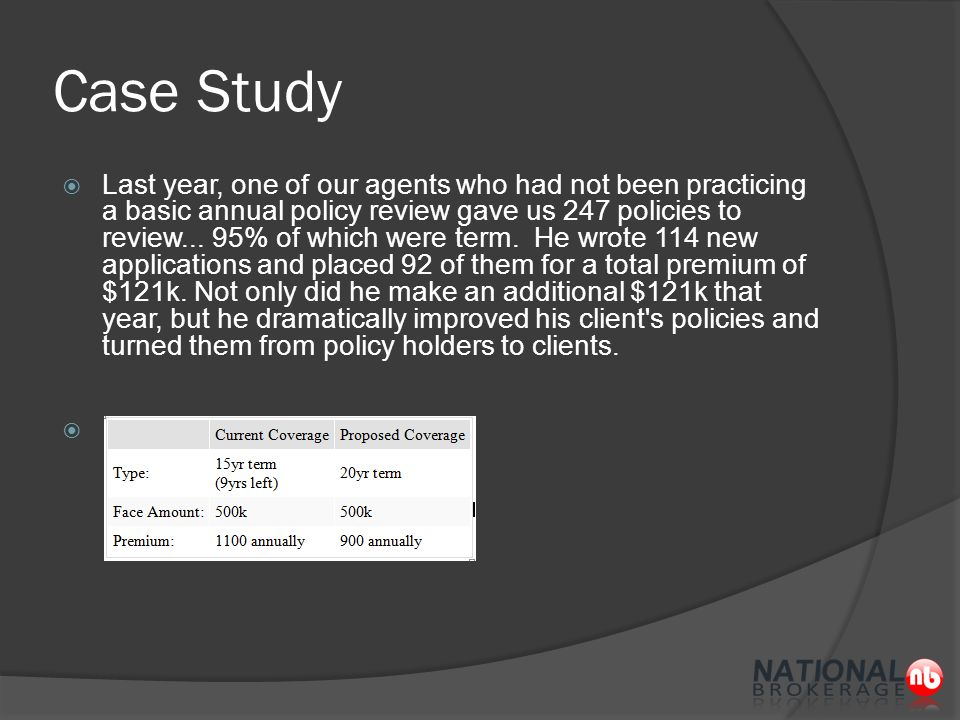 Case Study  Last year, one of our agents who had not been practicing a basic annual policy review gave us 247 policies to review...