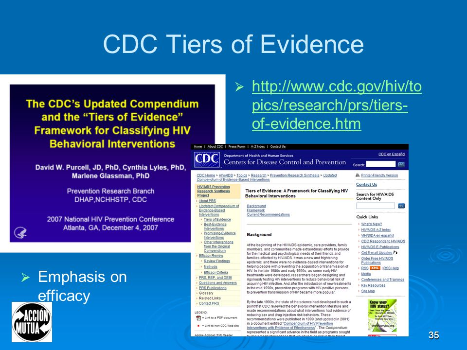35 CDC Tiers of Evidence  http://www.cdc.gov/hiv/to pics/research/prs/tiers- of-evidence.htm http://www.cdc.gov/hiv/to pics/research/prs/tiers- of-evidence.htm  Emphasis on efficacy
