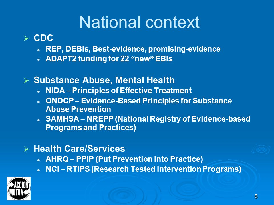 5 National context  CDC REP, DEBIs, Best-evidence, promising-evidence ADAPT2 funding for 22 new EBIs  Substance Abuse, Mental Health NIDA – Principles of Effective Treatment ONDCP – Evidence-Based Principles for Substance Abuse Prevention SAMHSA – NREPP (National Registry of Evidence-based Programs and Practices)  Health Care/Services AHRQ – PPIP (Put Prevention Into Practice) NCI – RTIPS (Research Tested Intervention Programs)