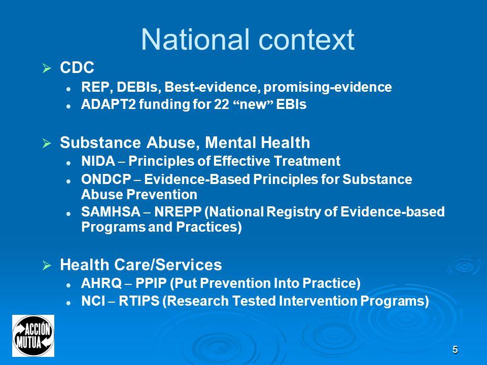 6 CDC EBIs (Sharpe, Collins & Glassman, 2007) Best-Evidence Promising- Evidence ADAPT Best-Evidence Interventions