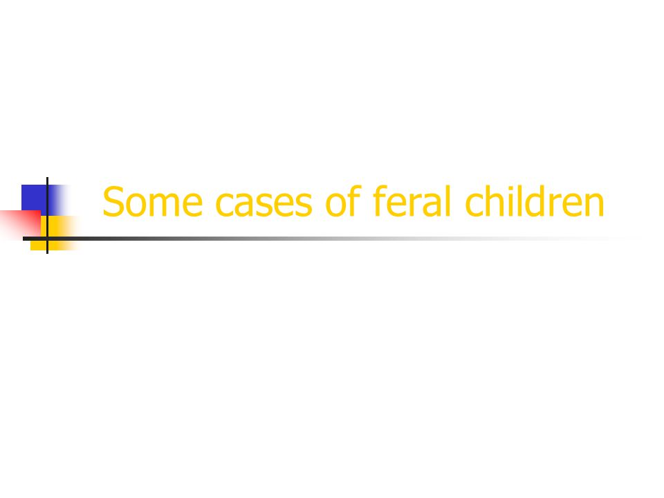 Feral children can be subdivided into 3 classes: 1.