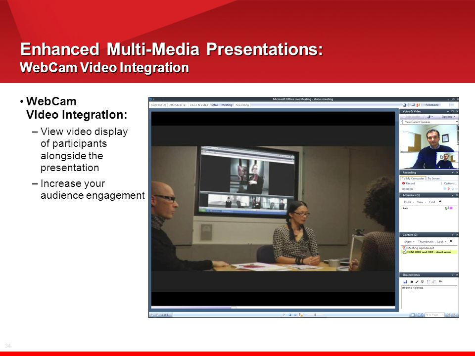 34 Enhanced Multi-Media Presentations: WebCam Video Integration WebCam Video Integration: –View video display of participants alongside the presentation –Increase your audience engagement