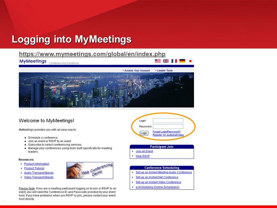 7 Logging into MyMeetings https://www.mymeetings.com/global/en/index.php