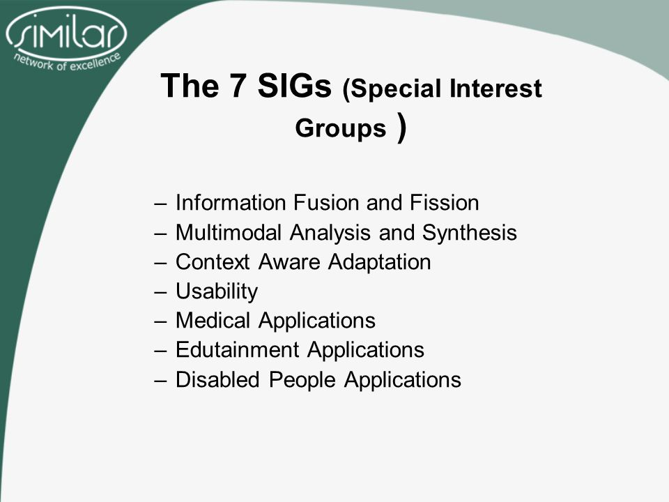 The 7 SIGs (Special Interest Groups ) –Information Fusion and Fission –Multimodal Analysis and Synthesis –Context Aware Adaptation –Usability –Medical Applications –Edutainment Applications –Disabled People Applications